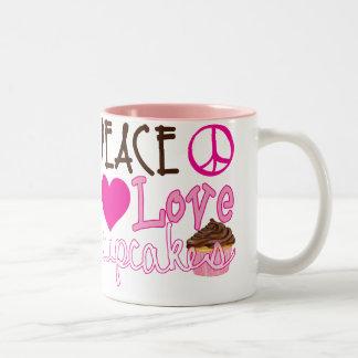 Peace, Love, Cupcakes Two-Tone Coffee Mug