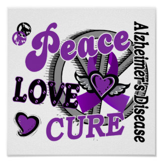 Peace Love Cure 2 Alzheimer s Disease Print