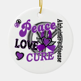 Peace Love Cure 2 Alzheimer's Disease Ceramic Ornament