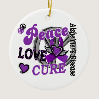 Peace Love Cure 2 Alzheimer's Disease Ceramic Ornament