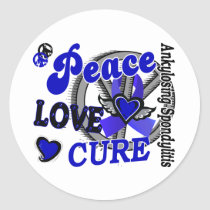 Peace Love Cure 2 Ankylosing Spondylitis Classic Round Sticker