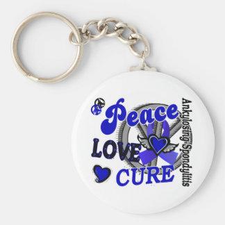 Peace Love Cure 2 Ankylosing Spondylitis Basic Round Button Keychain