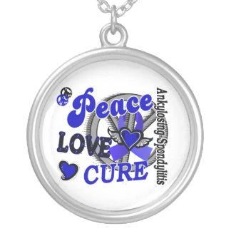 Peace Love Cure 2 Ankylosing Spondylitis Round Pendant Necklace