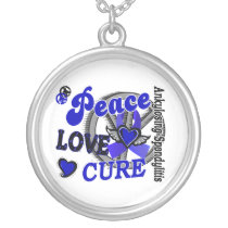 Peace Love Cure 2 Ankylosing Spondylitis Silver Plated Necklace
