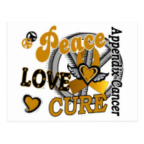 Peace Love Cure 2 Appendix Cancer Postcard