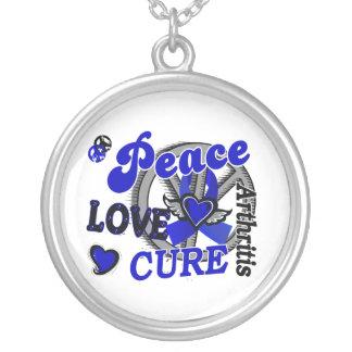 Peace Love Cure 2 Arthritis Round Pendant Necklace