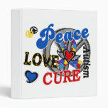 Peace Love Cure 2 Autism 3 Ring Binder