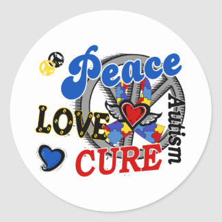 Peace Love Cure 2 Autism Classic Round Sticker