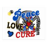 Peace Love Cure 2 Autism Postcard