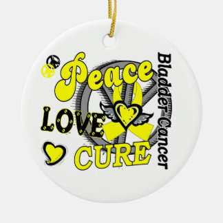 Peace Love Cure 2 Bladder Cancer Ornaments