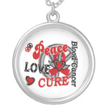Peace Love Cure 2 Blood Cancer Silver Plated Necklace