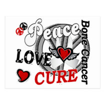Peace Love Cure 2 Bone Cancer Postcard