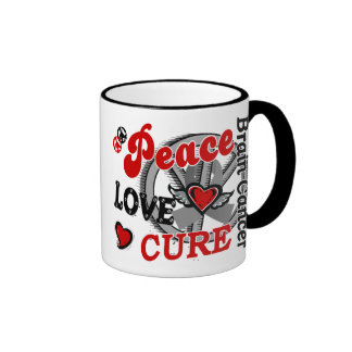 Peace Love Cure 2 Brain Cancer Ringer Mug