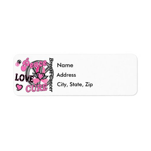 Peace Love Cure 2 Breast Cancer Label