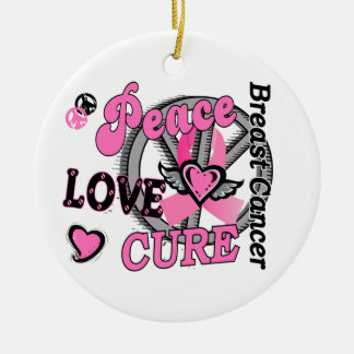 Peace Love Cure 2 Breast Cancer Ornament