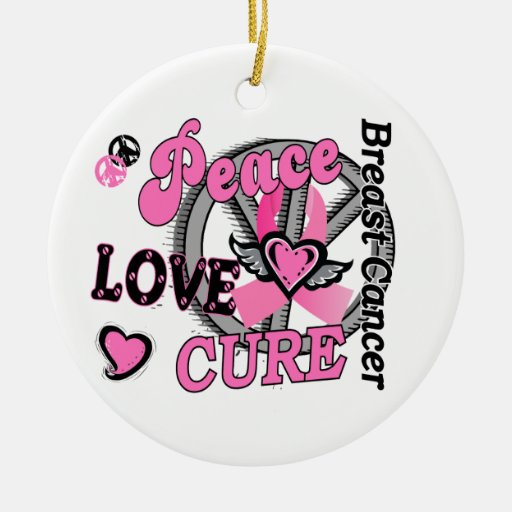 Peace Love Cure 2 Breast Cancer Double-Sided Ceramic Round Christmas Ornament