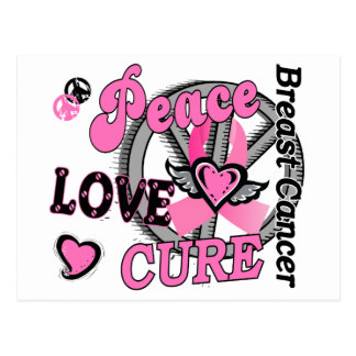 Peace Love Cure 2 Breast Cancer Postcard