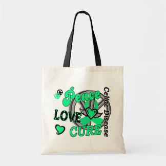 Peace Love Cure 2 Celiac Disease Tote Bags