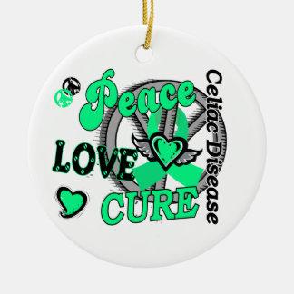 Peace Love Cure 2 Celiac Disease Christmas Tree Ornament