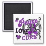 Peace Love Cure 2 Chiari Malformation 2 Inch Square Magnet