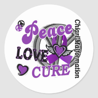 Peace Love Cure 2 Chiari Malformation Classic Round Sticker