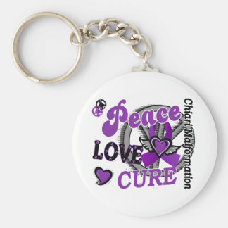 Peace Love Cure 2 Chiari Malformation Keychain