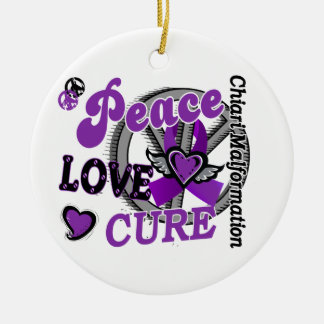 Peace Love Cure 2 Chiari Malformation Christmas Ornaments