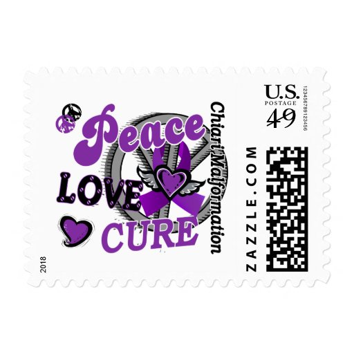 Peace Love Cure 2 Chiari Malformation Postage