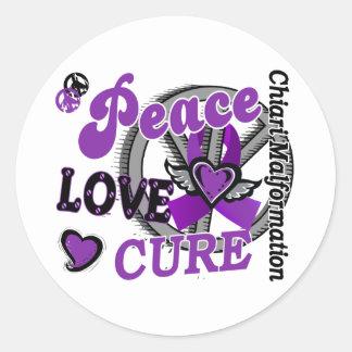 Peace Love Cure 2 Chiari Malformation Classic Round Sticker