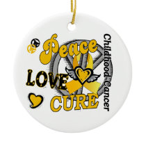 Peace Love Cure 2 Childhood Cancer Ceramic Ornament