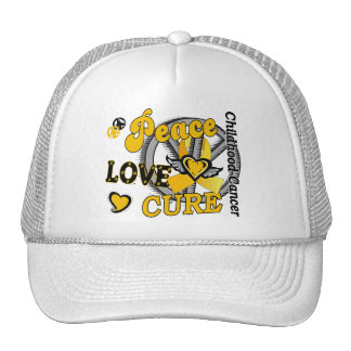 Peace Love Cure 2 Childhood Cancer Hats
