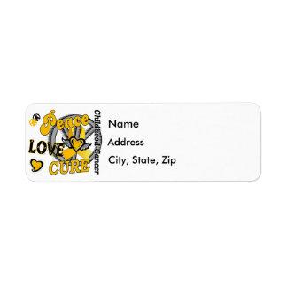 Peace Love Cure 2 Childhood Cancer Custom Return Address Labels