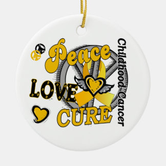 Peace Love Cure 2 Childhood Cancer Christmas Ornaments