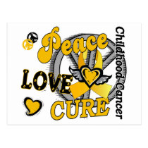 Peace Love Cure 2 Childhood Cancer Postcard