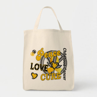 Peace Love Cure 2 Childhood Cancer Tote Bag
