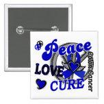 Peace Love Cure 2 Colon Cancer Pinback Button