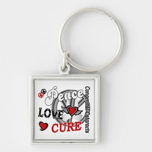 Peace Love Cure 2 Congenital Cataracts Silver-Colored Square Keychain