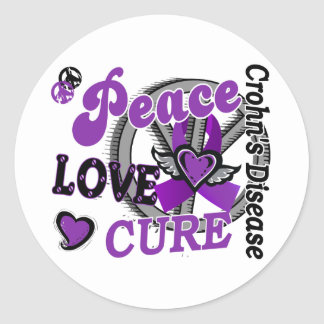 Peace Love Cure 2 Crohn's Disease Classic Round Sticker