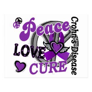 Peace Love Cure 2 Crohn's Disease Postcard
