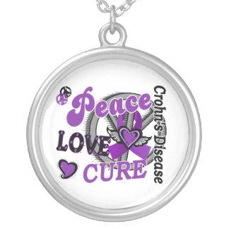 Peace Love Cure 2 Crohn's Disease Round Pendant Necklace