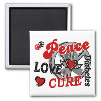 Peace Love Cure 2 Diabetes 2 Inch Square Magnet