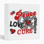 Peace Love Cure 2 Diabetes 3 Ring Binders