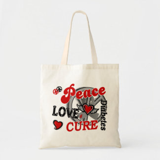 Peace Love Cure 2 Diabetes Budget Tote Bag