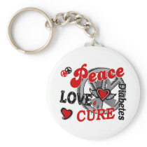 Peace Love Cure 2 Diabetes Keychain