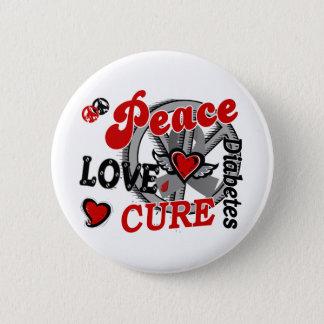 Peace Love Cure 2 Diabetes Pinback Button