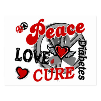 Peace Love Cure 2 Diabetes Postcard