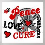 Peace Love Cure 2 Diabetes Print