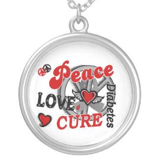 Peace Love Cure 2 Diabetes Round Pendant Necklace