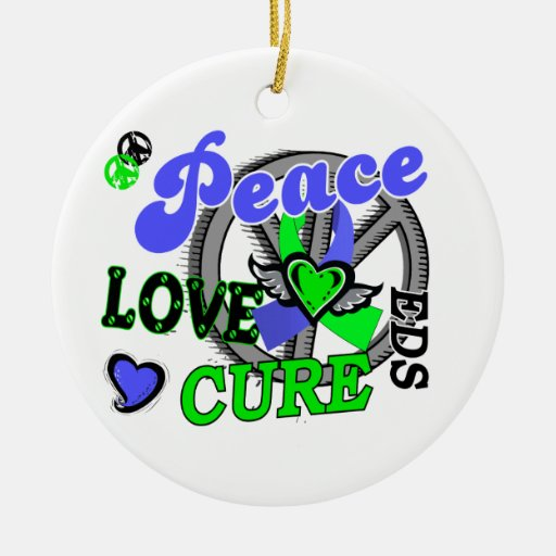 Peace Love Cure 2 EDS Double-Sided Ceramic Round Christmas Ornament