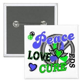 Peace Love Cure 2 EDS Pinback Buttons
